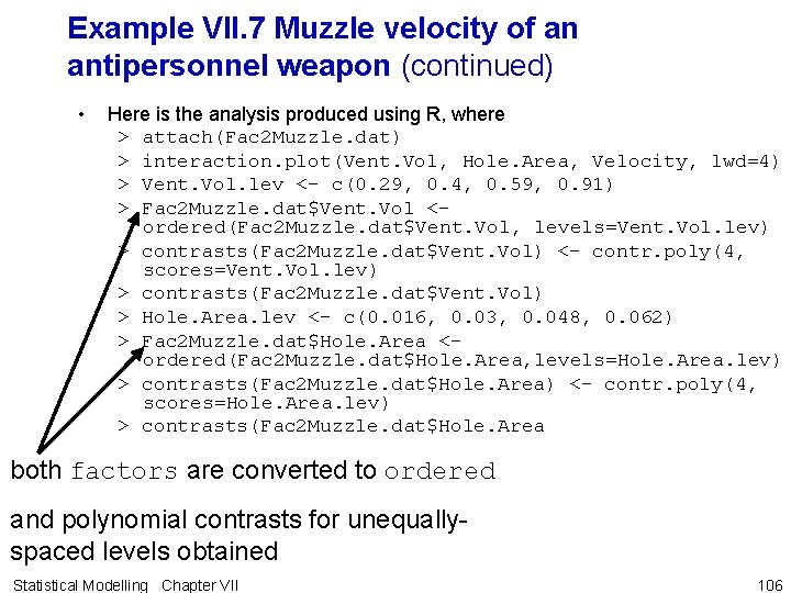 Example VII. 7 Muzzle velocity of an antipersonnel weapon (continued) • Here is the