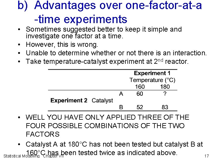 b) Advantages over one-factor-at-a -time experiments • Sometimes suggested better to keep it simple
