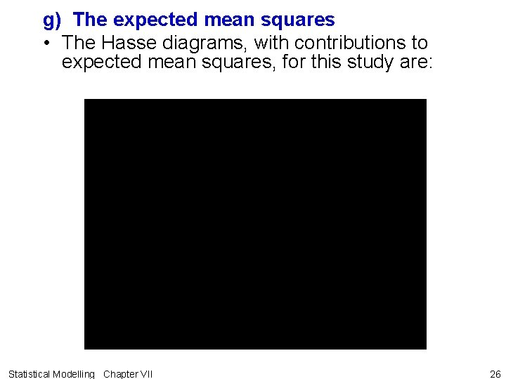 g) The expected mean squares • The Hasse diagrams, with contributions to expected mean