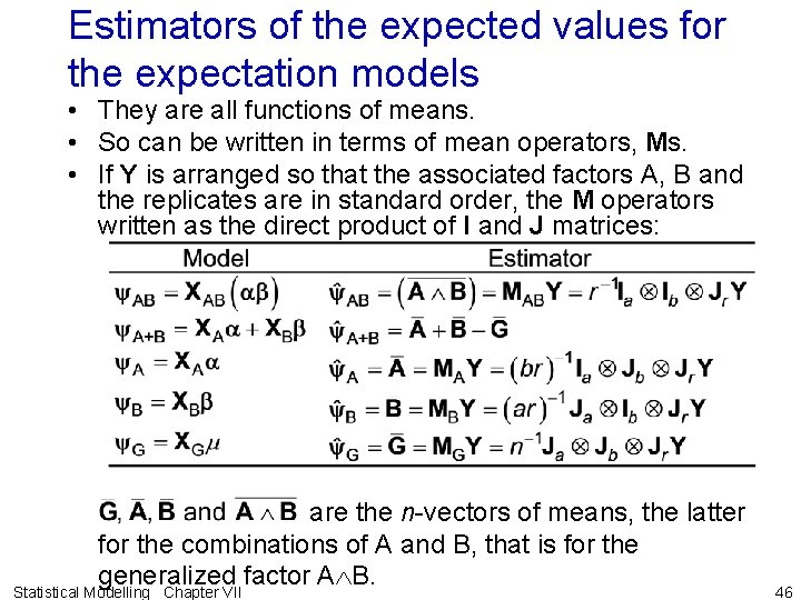 Estimators of the expected values for the expectation models • They are all functions