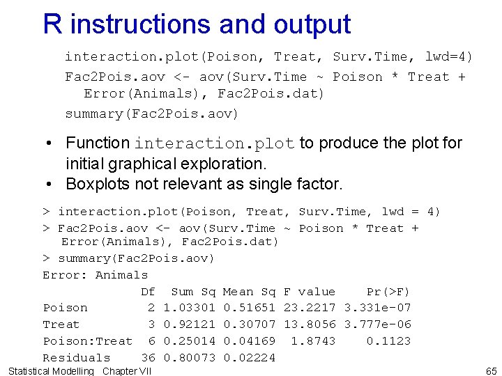 R instructions and output interaction. plot(Poison, Treat, Surv. Time, lwd=4) Fac 2 Pois. aov
