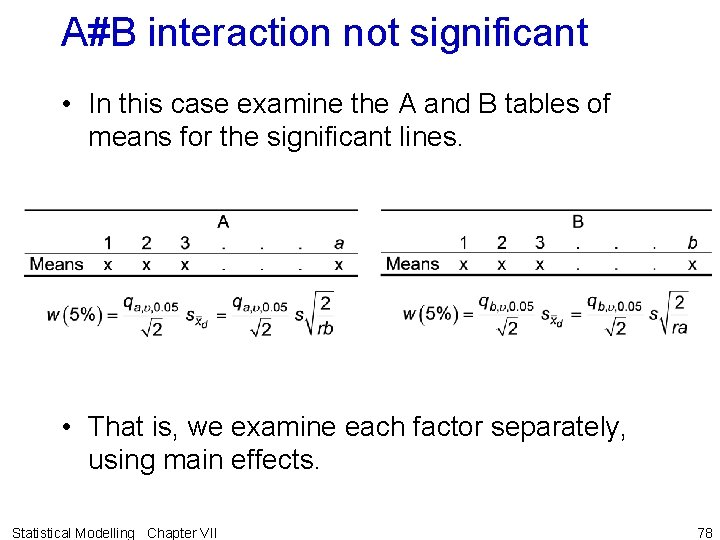 A#B interaction not significant • In this case examine the A and B tables