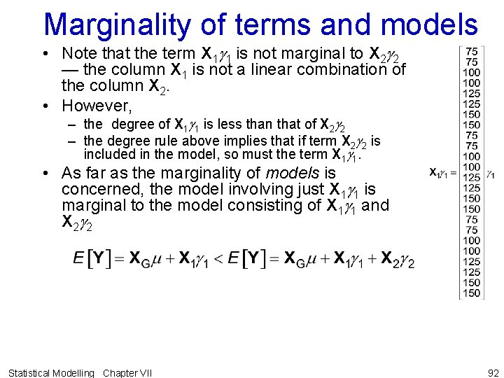 Marginality of terms and models • Note that the term X 1 g 1
