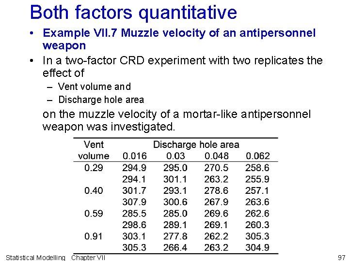 Both factors quantitative • Example VII. 7 Muzzle velocity of an antipersonnel weapon •