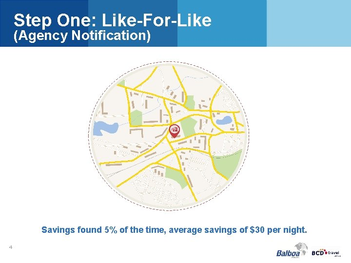 Step One: Like-For-Like (Agency Notification) Savings found 5% of the time, average savings of