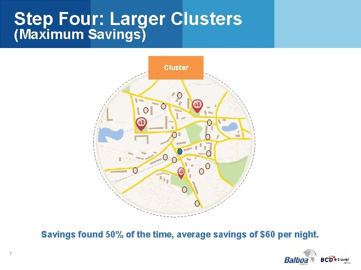 Step Four: Larger Clusters (Maximum Savings) . Cluster Savings found 50% of the time,