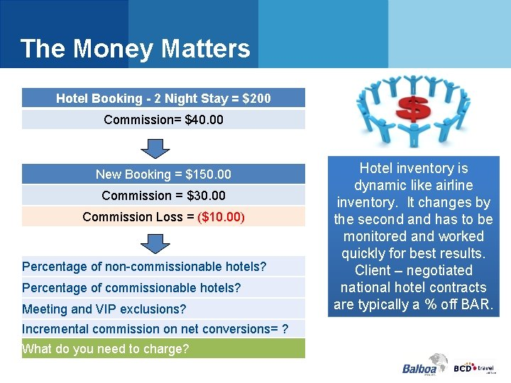 The Money Matters Hotel Booking - 2 Night Stay = $200 Commission= $40. 00