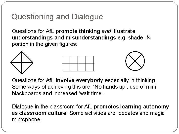 Questioning and Dialogue Questions for Af. L promote thinking and illustrate understandings and misunderstandings