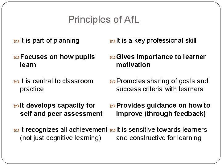 Principles of Af. L It is part of planning It is a key professional