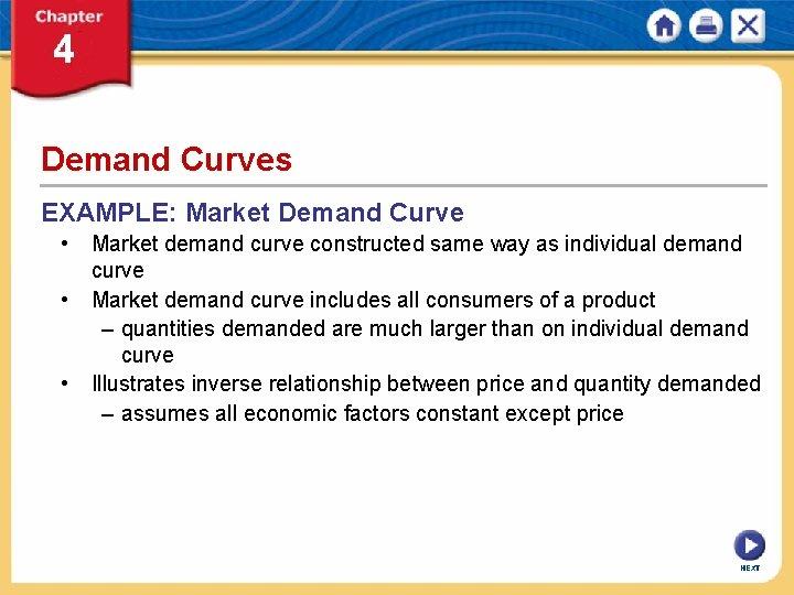 Demand Curves EXAMPLE: Market Demand Curve • Market demand curve constructed same way as