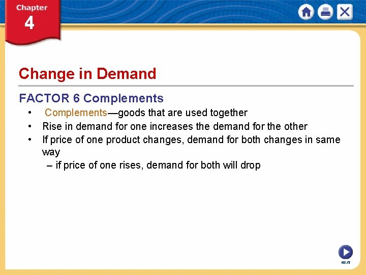 Change in Demand FACTOR 6 Complements • Complements—goods that are used together • Rise