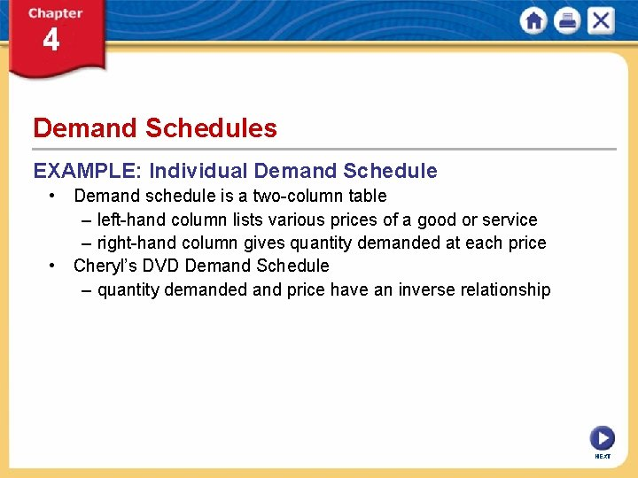 Demand Schedules EXAMPLE: Individual Demand Schedule • Demand schedule is a two-column table –