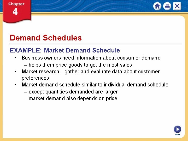 Demand Schedules EXAMPLE: Market Demand Schedule • Business owners need information about consumer demand