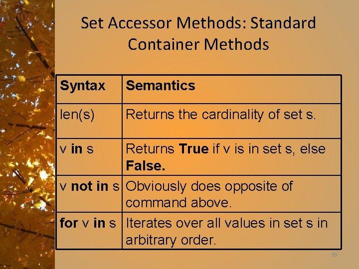 Set Accessor Methods: Standard Container Methods Syntax Semantics len(s) Returns the cardinality of set