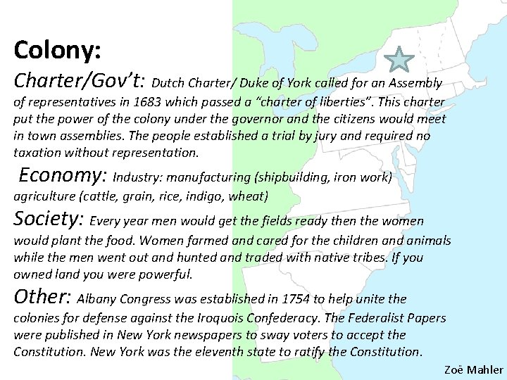 Colony: Charter/Gov't: Dutch Charter/ Duke of York called for an Assembly of representatives in