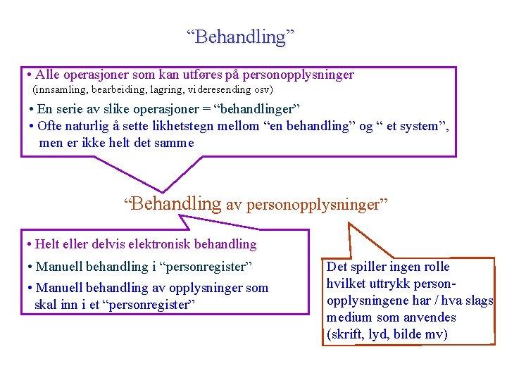 """""""Behandling"""" • Alle operasjoner som kan utføres på personopplysninger (innsamling, bearbeiding, lagring, videresending osv)"""