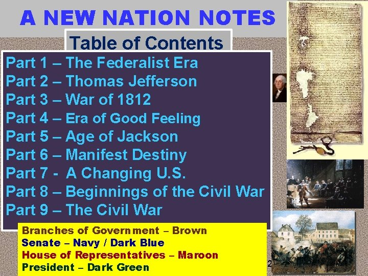 A NEW NATION NOTES Table of Contents Part 1 – The Federalist Era Part