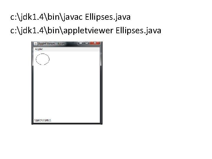 c: jdk 1. 4binjavac Ellipses. java c: jdk 1. 4binappletviewer Ellipses. java