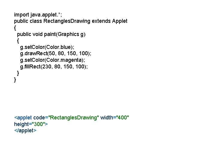 import java. applet. *; public class Rectangles. Drawing extends Applet { public void paint(Graphics