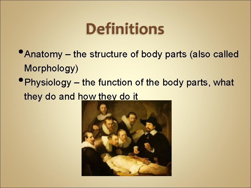 • Anatomy – the structure of body parts (also called • Morphology) Physiology