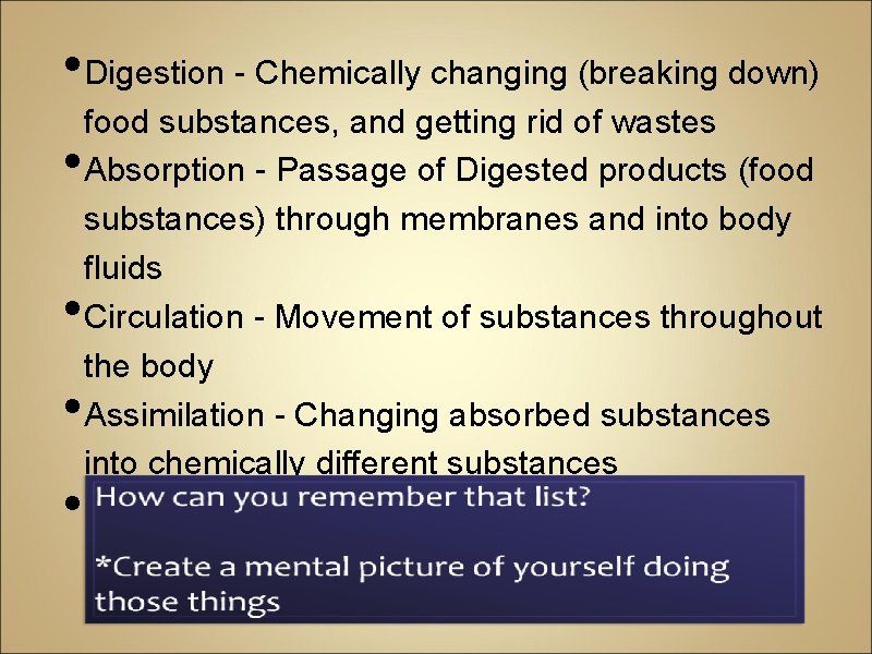 • Digestion - Chemically changing (breaking down) • • food substances, and getting