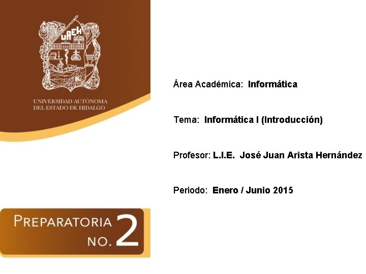 Área Académica: Informática Tema: Informática I (Introducción) Profesor: L. I. E. José Juan Arista