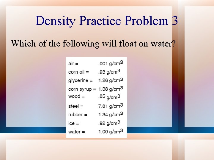 Density Practice Problem 3 Which of the following will float on water?