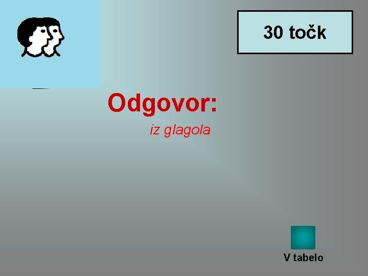 30 točk Odgovor: iz glagola V tabelo
