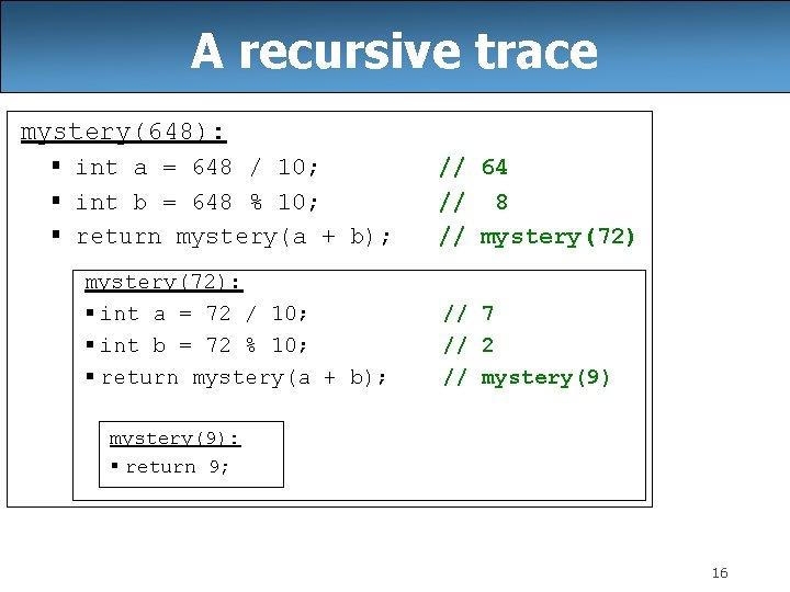 A recursive trace mystery(648): § int a = 648 / 10; § int b