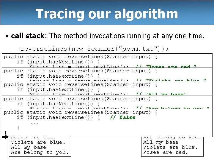 Tracing our algorithm • call stack: The method invocations running at any one time.