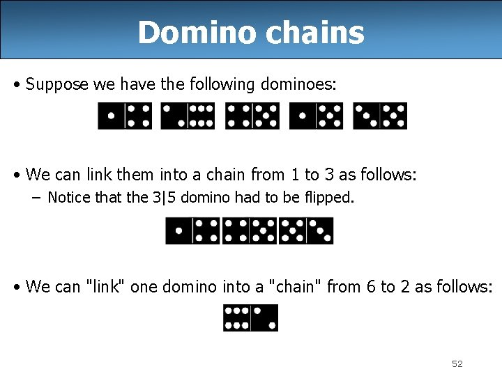 Domino chains • Suppose we have the following dominoes: • We can link them