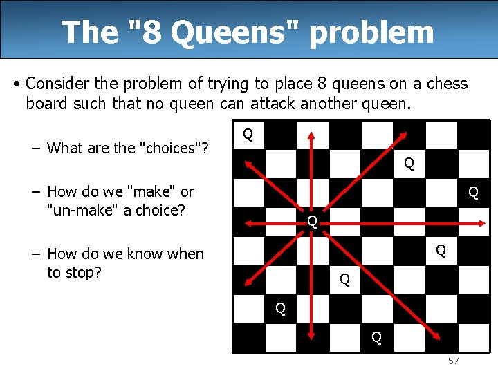 """The """"8 Queens"""" problem • Consider the problem of trying to place 8 queens"""