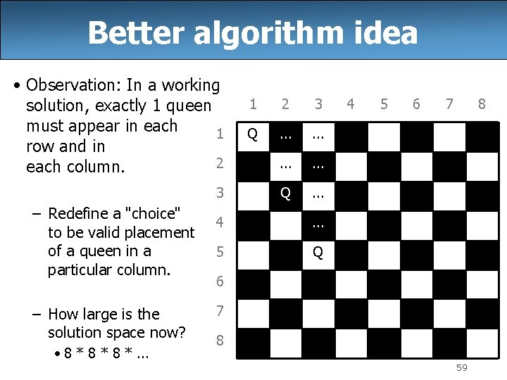 Better algorithm idea • Observation: In a working solution, exactly 1 queen must appear