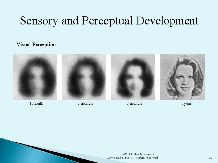 Sensory and Perceptual Development Visual Perception 1 month 2 months 3 months © 2011