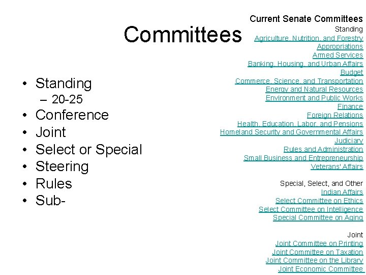 Committees • Standing – 20 -25 • • • Conference Joint Select or Special