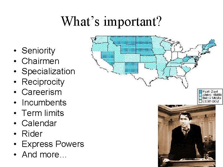 What's important? • • • Seniority Chairmen Specialization Reciprocity Careerism Incumbents Term limits Calendar