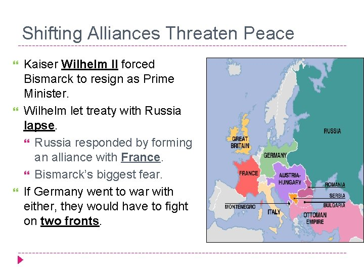 Shifting Alliances Threaten Peace Kaiser Wilhelm II forced Bismarck to resign as Prime Minister.