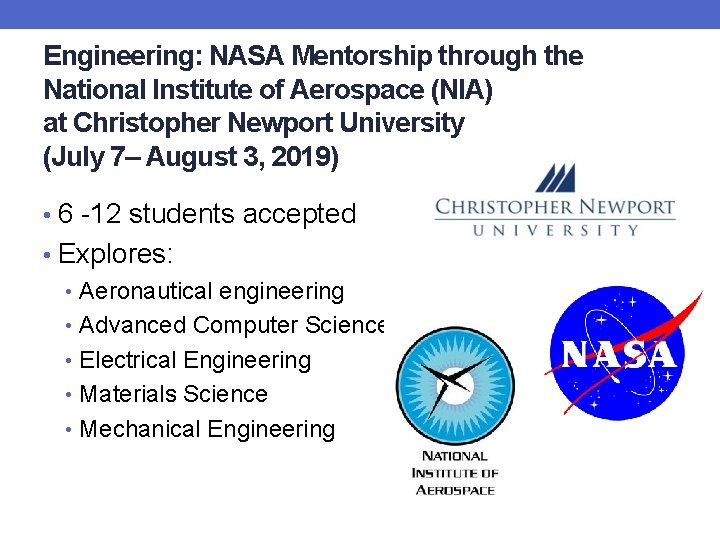 Engineering: NASA Mentorship through the National Institute of Aerospace (NIA) at Christopher Newport University
