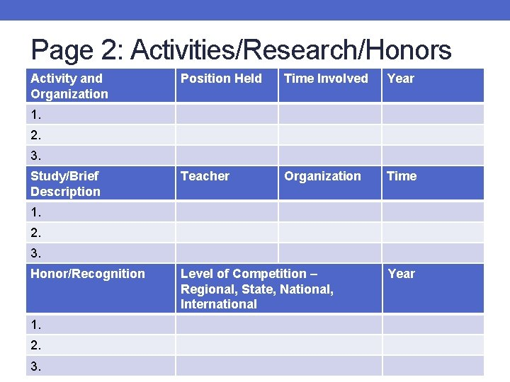 Page 2: Activities/Research/Honors Activity and Organization Position Held Time Involved Year Teacher Organization Time