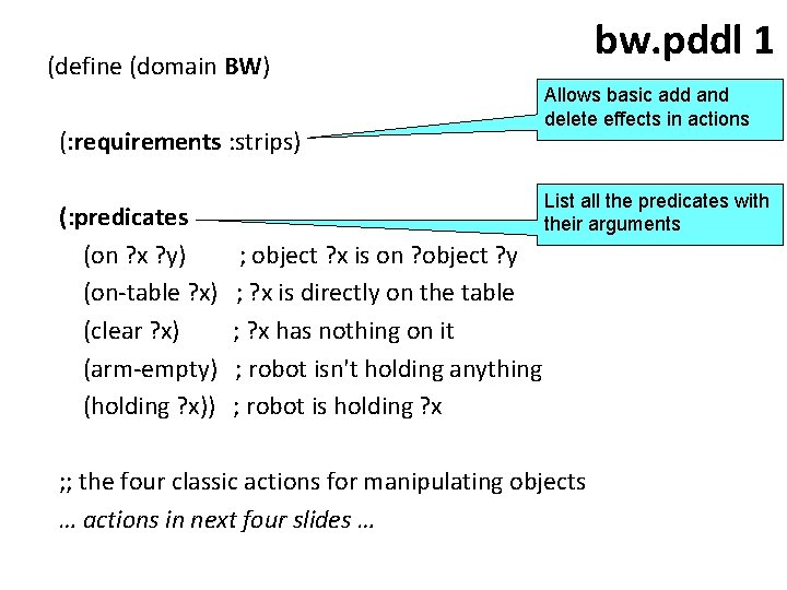 bw. pddl 1 (define (domain BW) (: requirements : strips) (: predicates (on ?