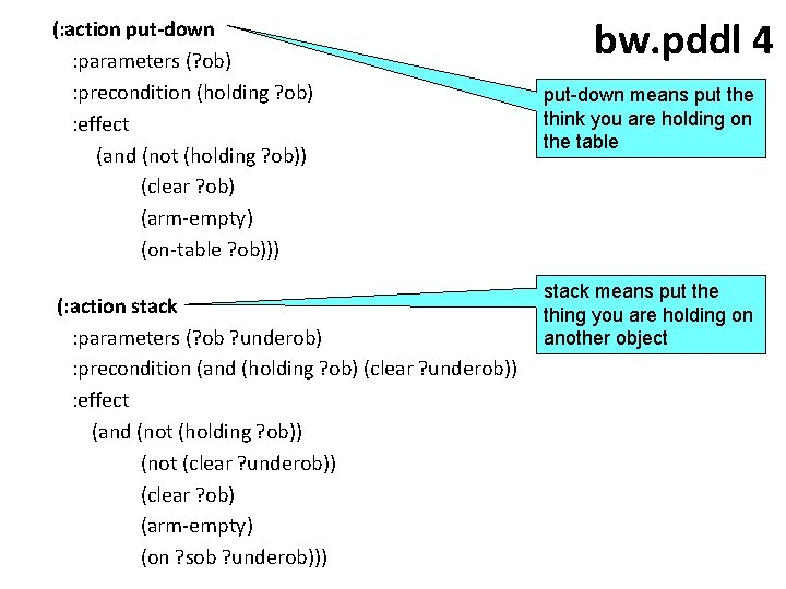 (: action put-down : parameters (? ob) : precondition (holding ? ob) : effect