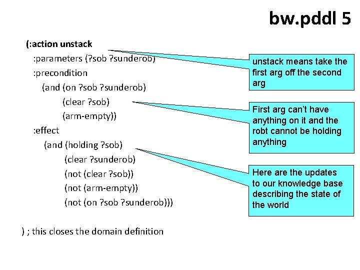 bw. pddl 5 (: action unstack : parameters (? sob ? sunderob) : precondition