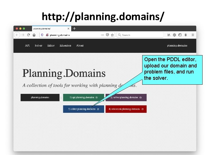 http: //planning. domains/ Open the PDDL editor, upload our domain and problem files, and