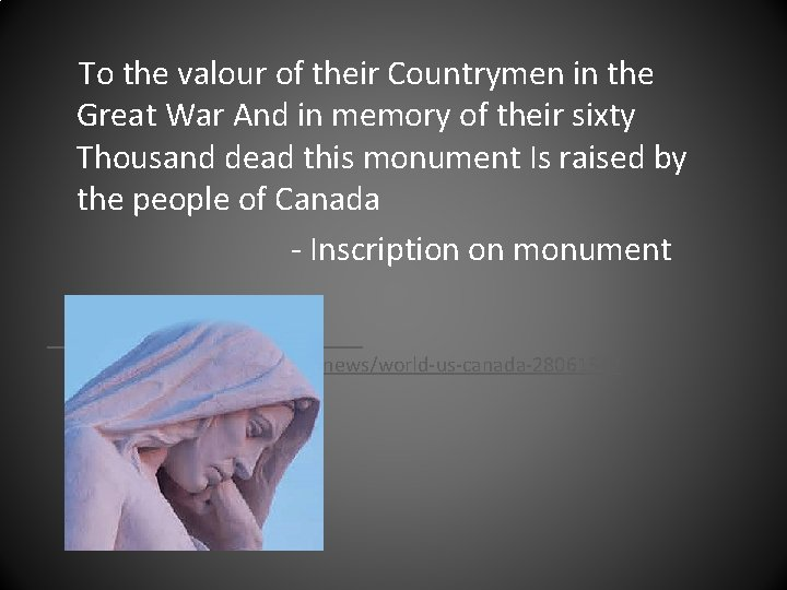 To the valour of their Countrymen in the Great War And in memory