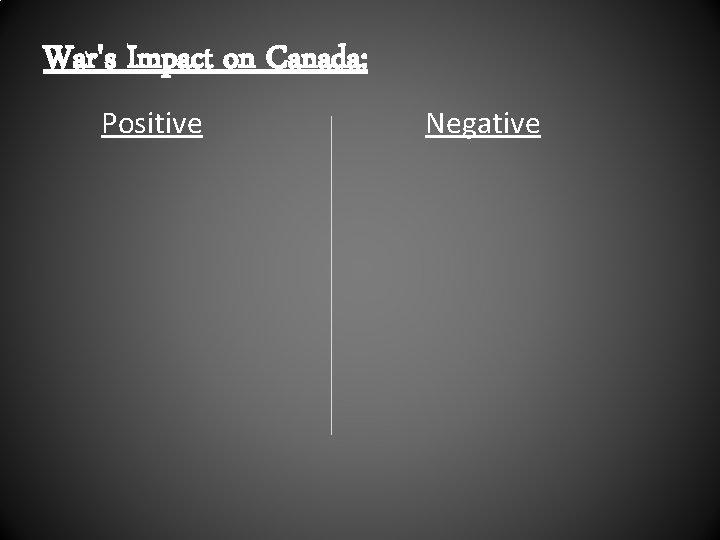 War's Impact on Canada: Positive Negative