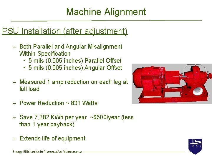 Machine Alignment PSU Installation (after adjustment) – Both Parallel and Angular Misalignment Within Specification