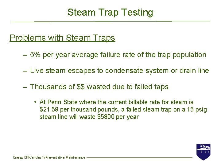 Steam Trap Testing Problems with Steam Traps – 5% per year average failure rate