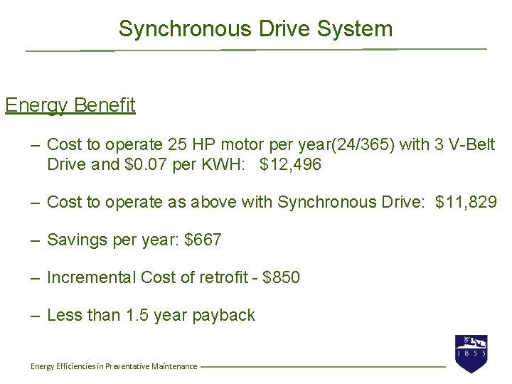 Synchronous Drive System Energy Benefit – Cost to operate 25 HP motor per year(24/365)