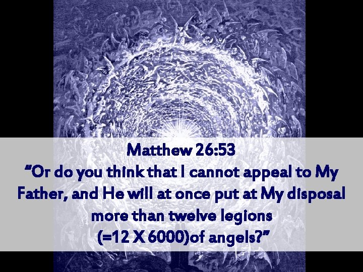 """Matthew 26: 53 """"Or do you think that I cannot appeal to My Father,"""