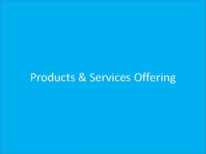Products & Services Offering